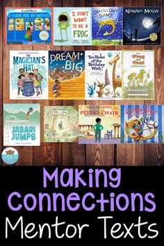 Picture books make amazing mentor texts for making connections! These books can help kids make text to self, text to text, or text to world connections! Reading Strategies, Reading Comprehension, Comprehension Strategies, Making Connections Activities, Teaching Reading, Reading Practice, Reading Lessons, Guided Reading, Math Lessons
