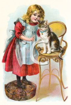 iCLIPART - Illustration of a Girl with Her Cat Sitting on a Chair