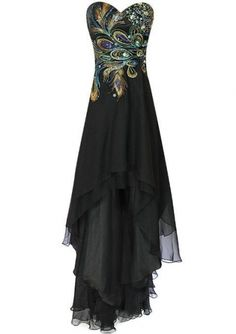 Meier Womens Strapless Peacock Embroidery Chiffon Gown