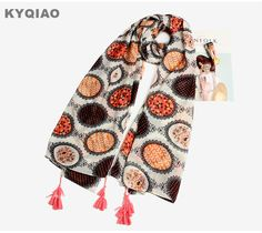 ... plus Foulards Informations sur KYQIAO Femmes hiver écharpe de luxe  marque femelle automne bohème ethnique longue polka dots imprimer écharpe  cape châle ... f9ca3eb0f8d