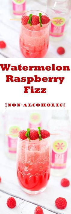 Watermelon Raspberry Fizz drink made with IZZE sparkling water and fresh watermelon juice. Easy non-alcoholic drink for summer