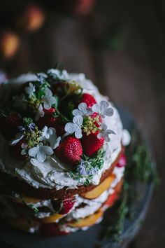 Strawberry, Thyme, & Peach Buttermilk Cake with Mascarpone Whipped Cream