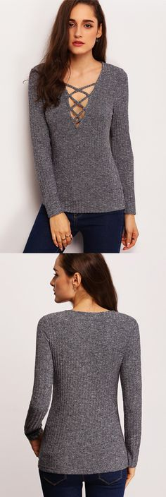 Not your typical boring sweater is what we offer you with this blue v-neck long sleeve sweater. Its deep neckline is paired with lace-up detailing that offers a slimming silhoutte to your upper bodice.