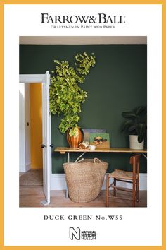 Duck Green by Farrow & Ball is a strong yet subdued green. Use it as a contemporary alternative to charcoal grey and combine it with Deep Reddish Brown to create a warm and welcoming colour scheme. Bedroom Colour Schemes Warm, Hallway Colour Schemes, Hallway Colours, Room Wall Colors, Dark Green Living Room, Dark Green Rooms, Green Kitchen Walls, Dark Green Kitchen, Farrow Ball