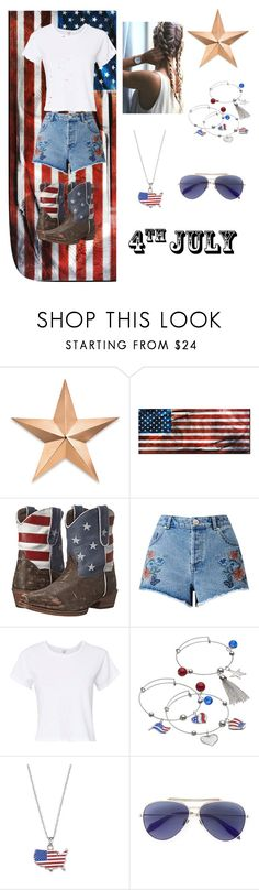 """""""4th of July"""" by glennaprior ❤ liked on Polyvore featuring Thos. Baker, Roper, Miss Selfridge, RE/DONE, LogoArt and Alexander McQueen"""
