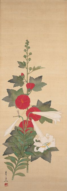 Burke Collection | Hollyhock and Lilies