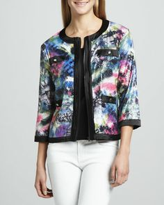 Sequined Print Zip Jacket & Solid Knit Shell, Women\'s by Michael Simon at Neiman Marcus.
