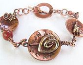 Embelished disc copper bracelet