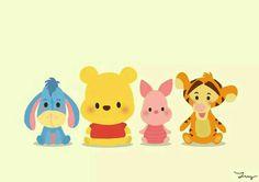 "Baby Eeyore, Baby Pooh, Baby Piglet, and Baby Tigger. ""Winnie the Pooh and Friends"" Cute Winnie The Pooh, Winne The Pooh, Kawaii Disney, Disney Babys, Baby Disney, Cute Disney Drawings, Cute Drawings, Drawing Disney, Disney Kunst"