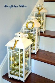 Christmas 2012 The Entry Stairway Decorating Christmas Entry Gold Christmas Decorations, Christmas Lanterns, Ramadan Decorations, Table Decorations, All Things Christmas, Christmas Holidays, Christmas Crafts, Silver Christmas, Christmas Bulbs