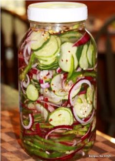 Refrigerator Cucumber Salad w/ Red onion and Bell peppers (vinegar, sugar, salt, celery flakes and red pepper flakes) …i may leave out the bell peppers