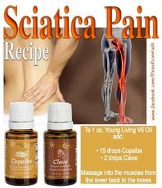 Young Living Essential Oils for sciatica pain. Essential Oil For Sciatica, Copaiba Essential Oil, Essential Oils For Pain, Essential Oil Uses, Natural Essential Oils, Young Living Essential Oils, Sciatica Pain, Sciatic Nerve, Sciatica Stretches