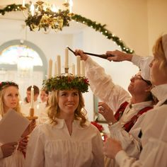 Välkommen in the holiday season in Lindsborg, Kansas with traditional Swedish celebrations including Lucia Day (featuring the crowning of the Lucia and refreshments), Julotta (an early Christmas morning church service), and old-fashioned prairie Christmas celebration.