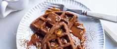 This waffle recipe from Edd Kimber is a little more fun than the traditional kind of waffles. Made with cocoa and rye flour and served with a whiskey-spiked caramel, these are definitely the more grown-up cousin to the classic.