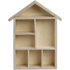 Plain Wooden House Shaped Shelf Box  Craft by CrabtreeLaneShop