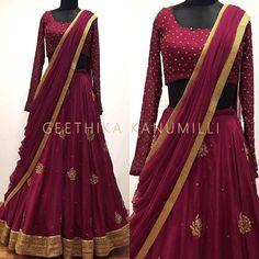 Looking for half saree color combinations ? Check out 21 cool looking half saree designs with trending colors and modern appeal. Half Saree Lehenga, Lehnga Dress, Bridal Lehenga Choli, Saree Look, Indian Lehenga, Sari, Anarkali, Bollywood Lehenga, Half Saree Designs