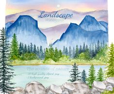 Watercolor Landscape Clipart, Printable Mountain, Digital Woodland Border, Foggy Conifer Forest Background, Pine trees, Nature Scenery, Rock Forest Background, Landscape Background, Watercolor Books, Watercolor Landscape, Mom And Me Photos, Landscape Clipart, Woodland Illustration, Conifer Forest, Pine