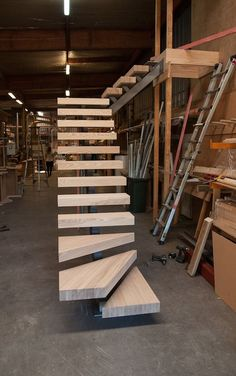 ideas floating stairs design stairways for 2019 Metal Stairs, Loft Stairs, Modern Stairs, Basement Stairs, House Stairs, Concrete Stairs, Railing Design, Staircase Design, Stair Design
