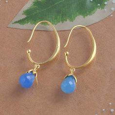 925 SOLID STERLING SILVER BLUE CHALSEDONY EARRING 4.01g DJER1319 #Handmade #Earring