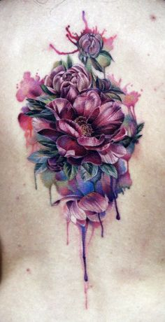 awesome Body - Tattoo's - Flower Bouquet Tattoo by Anna Beloziorova Flower Bouquet Tattoo, Flower Tattoo Back, Flower Tattoo Designs, Back Tattoo, Tattoo Flowers, Tattoo Roses, Girly Tattoos, Pretty Tattoos, Body Art Tattoos
