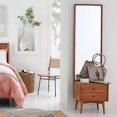 Reflect on this. Full length and freestanding, the Mid-Century Storage Mirror yields a full-body view, with two drawers for hiding odds and ends. It's crafted from FSC®-certified wood, adding modern-day sustainability to its timeless style. ENTRY WAY Home Bedroom, Modern Bedroom, Bedroom Decor, Bedrooms, Minimalist Bedroom, Wall Decor, Modern Furniture, Home Furniture, Furniture Design