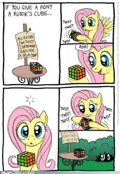 Fluttershy solves the Rubik's cube....um... if that's alright with you