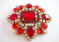 Brilliant Red Czech Brooch Glass & Clear by RenaissanceFair