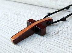 Men's Cross Necklace  Maple & South American Bloodwood by The Lotus Shop, $14.95
