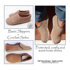 INSTANT DOWNLOAD PDF- CROCHET PATTERN, NOT A FINISHED PRODUCT !  This listing is an E-Book 2 in1 pattern for Crochet-Knit Casual Slippers + Crochet-Sole Tutorial.  Customized Sole-Method, Suitable for any foot-size, and applies to ANY crochet- and knit slipper. Detailed step-by-step instructions with pics! GREAT NEWS FOR STANDARD FOOT-SIZES: Included in the sole-pattern, is now instructions for 4 standard sole-sizes. Full stitch-diagram for each size, with actual-size foot- templates in the…