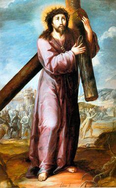 Óleo sobre tela .Museo de Guadalupe Zacatecas- jesus con la cruz a cuestas- autor Baltazar de Echave Rioja