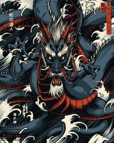 Personal illustrative project on Shinto/Japanese Gods. Japanese Art Modern, Japanese Artwork, Japanese Tattoo Art, Traditional Japanese, Modern Art, Dragon Tattoo Art, Dragon Artwork, Mononoke Anime, Samurai Artwork
