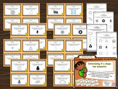 task cards for recognizing symmetry in a geometry unit