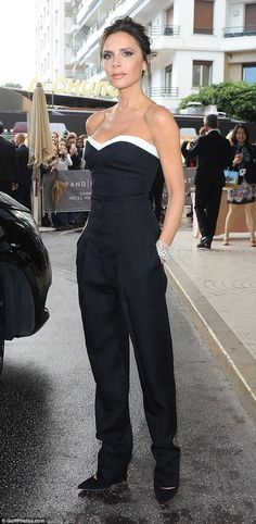 Ooh la la! Victoria Beckham wowed in a super chic black and white ensemble as she left her Cannes hotel on May 11, 2016 and headed to the opening night of the world renowned Film Festival