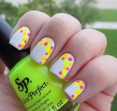 DIY Nails Art :DIY Neon Nails Art : Neon Accent Dots