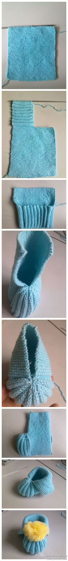 Easy Baby Bootees - knitting Do this on crochet
