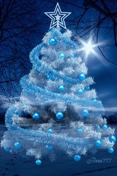 Very beautiful Christmas tree in white and blue colors. Christmas Scenes, Noel Christmas, Merry Christmas And Happy New Year, Christmas Pictures, Winter Christmas, Christmas Lights, Vintage Christmas, Christmas Mantles, Xmas