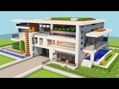 New minecraft how to build a big modern house -tutorial how to make a mansion 1 Epic Minecraft Houses, Minecraft Mansion Tutorial, Minecraft Modern Mansion, Minecraft Modern House Blueprints, Minecraft House Plans, Minecraft World, Minecraft Redstone, Minecraft House Tutorials, Amazing Minecraft