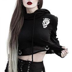 Gothic Punk Halloween Long Sleeves Crop Tops Hoodie Sweatshirt Pullover T-Shirt Crop Top Hoodie, Cropped Hoodie, Gothic Hoodies, Alternative Mode, Alternative Fashion, Alternative Outfits, Cropped Tops, Grunge, Gothic Outfits