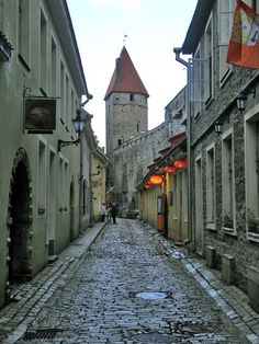 Tallinn, Estonia. Old roofs and steep cobbled streets make this a fairy tale city to explore.