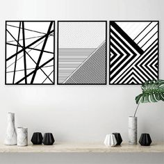 Printable Art, Set of 3 Geometric Prints, Set of 3 Prints, Printable, Black and White, Posters, Wall Art, Prints, Art, Downloadable Prints