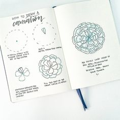 "2,282 Likes, 30 Comments - liz (@bonjournal_) on Instagram: ""Happy Friday! Here is a step by step tutorial on how to draw a carnation   Have fun drawing this…"""