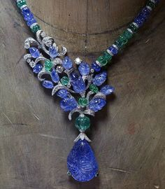 Cartier Sapphire and Emerald Bead Necklace