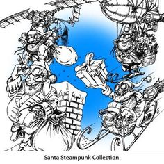 Santa Steampunk Collection Digi Stamp in Digital images