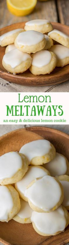 Lemon Meltaways ~ Light and buttery, these lemon bite-sized cookies are a real t. - Lemon Meltaways ~ Light and buttery, these lemon bite-sized cookies are a real treat! Easy to make - Lemon Desserts, Lemon Recipes, Mini Desserts, Easy Desserts, Sweet Recipes, Baking Recipes, Cookie Recipes, Delicious Desserts, Dessert Recipes
