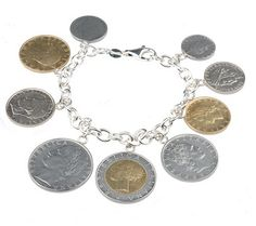Rich in history and charm, this eye-catching bracelet displays nine Italian coins of various currencies, colors, and sizes. The coins are connected to a sterling rolo link chain via O-rings. QVC.com - $27