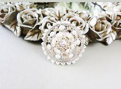 Pearl Crocheted Silver Lace Brooch Pin Belt Headpiece by sukran, $75.00