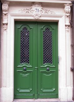 Image detail for -Photo of the Day: French Door Series Paris Green Door Entryway, Entry Doors, Front Doors, Cheap Internal Doors, Paris Green, Open Door Policy, Entrance Gates, Main Entrance, Grand Entrance