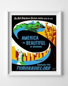 Vintage Disneyland Poster Print America the by InkistPrints