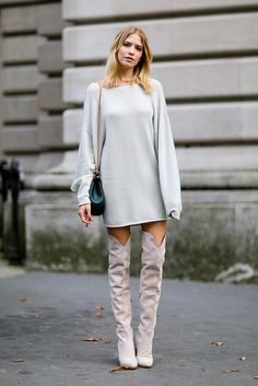 Over-the-knee boots were a recurring trend outside the Spring 2015   The 50 Best Street Style Looks of 2014   POPSUGAR Fashion