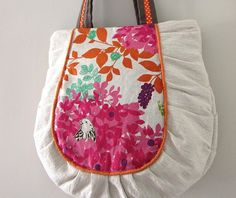 Handmade Woodlands Pleated Tote in Pink by PippiRabbit on Etsy